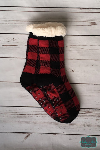 Plush Reading Socks - Buffalo Plaid Accessories