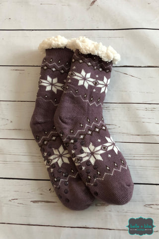 Plush Reading Socks - Plum Accessories
