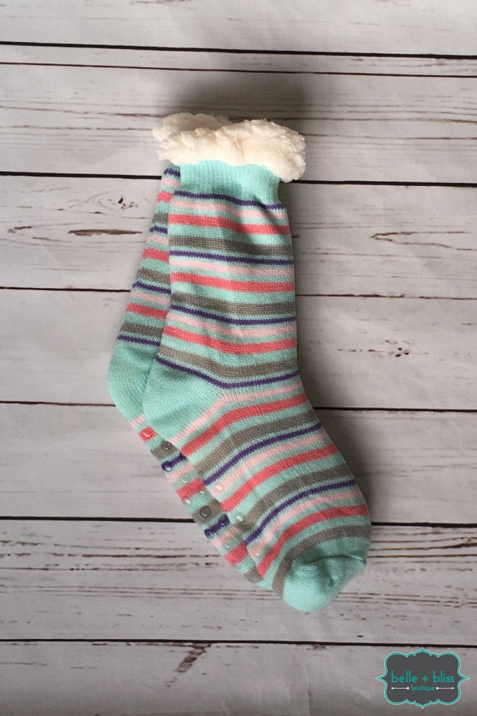 Plush Reading Socks - Stripe ( Mint And Coral) Accessories