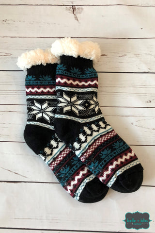 Plush Reading Socks - Teal Burgundy Black Accessories