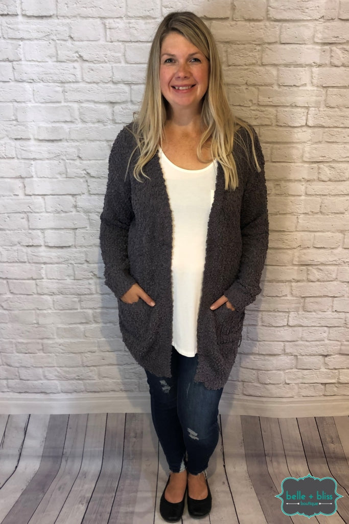 Popcorn Cardigan - Charcoal Tops & Sweaters