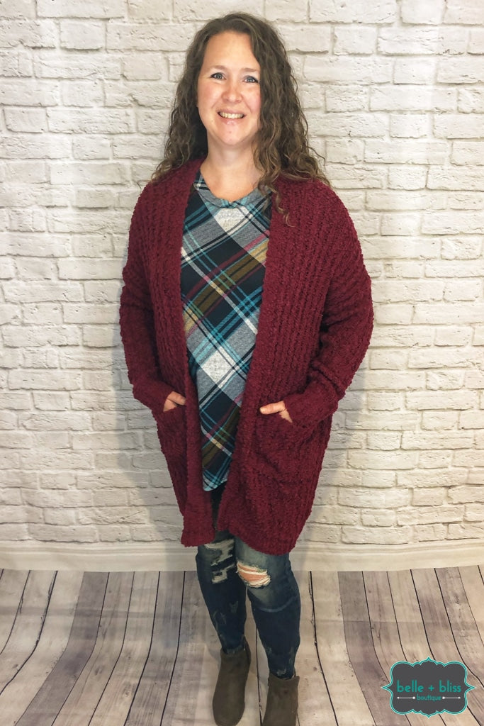 Popcorn Cardigan - Wine Tops & Sweaters