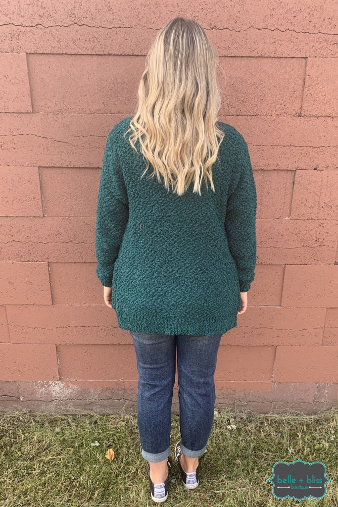 Popcorn Cardigan With Buttons And Pockets - Hunter Green B+B Crew