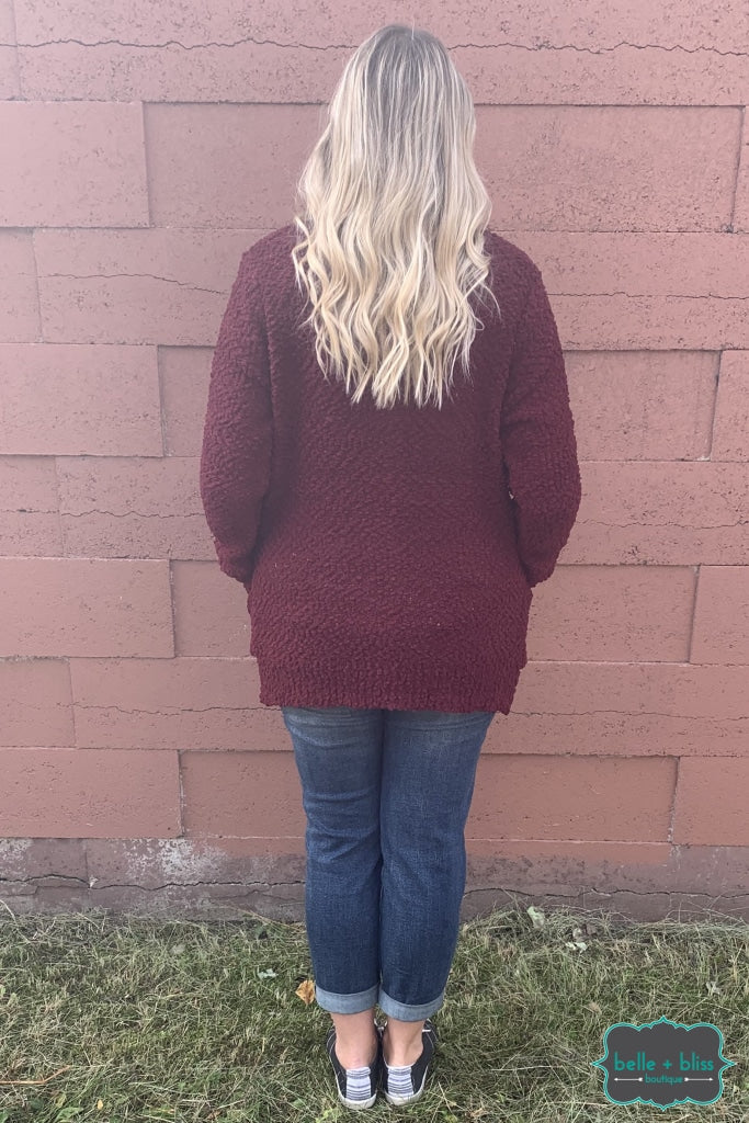 Popcorn Cardigan With Buttons And Pockets - Merlot B+B Crew
