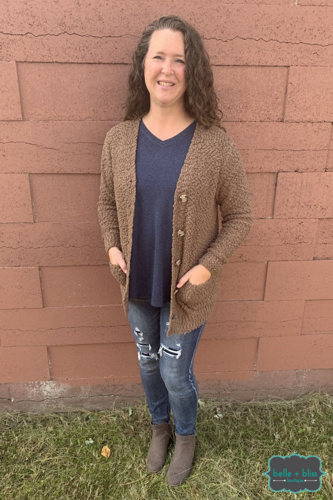 Popcorn Cardigan With Buttons And Pockets - Mocha B+B Crew