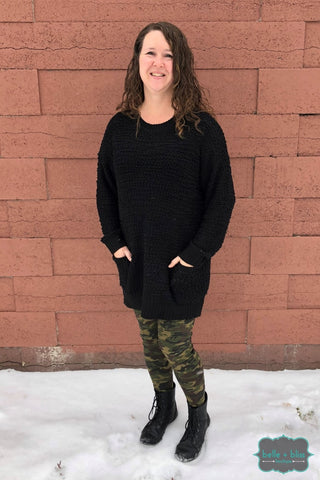Popcorn Pullover - Black Tops & Sweaters