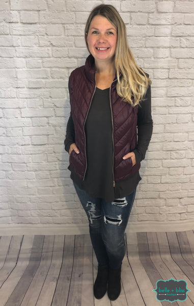 Puffer Vest - Wine Tops & Sweaters