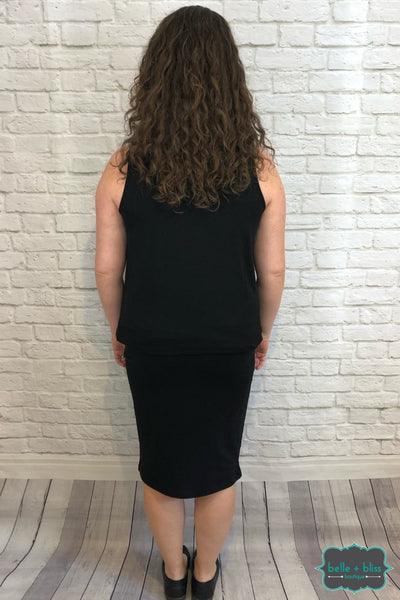 Pull On Pencil Skirt - Black B+B Crew