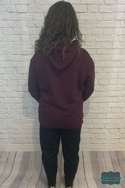 Pullover Hoodie With Front Pocket - Plum B+B Crew