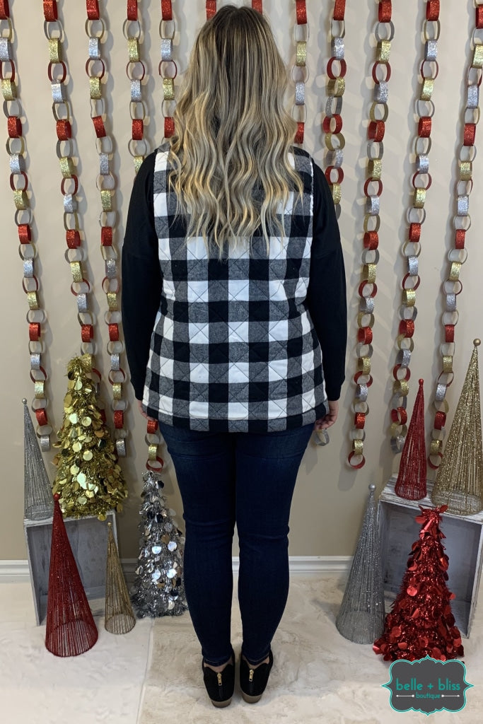 Quilted Buffalo Plaid Vest With Pockets - White Tops & Sweaters