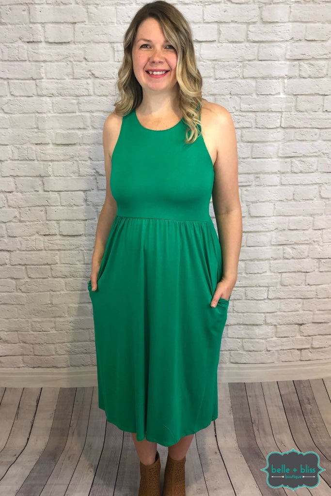Racerback Dress With Pockets - Kelly Green B+B Crew