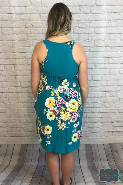 Racerback Floral Dress With Pockets - Turquoise B+B Crew