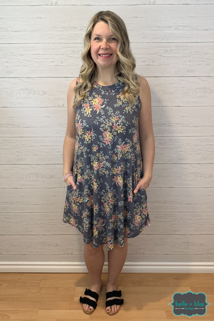 Ribbed Floral Dress With Pockets - Heathered Navy Dresses & Skirts