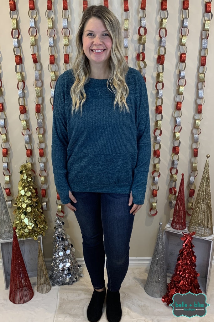 Ribbed Panel Sweater With Thumbholes - Heathered Teal Tops & Sweaters