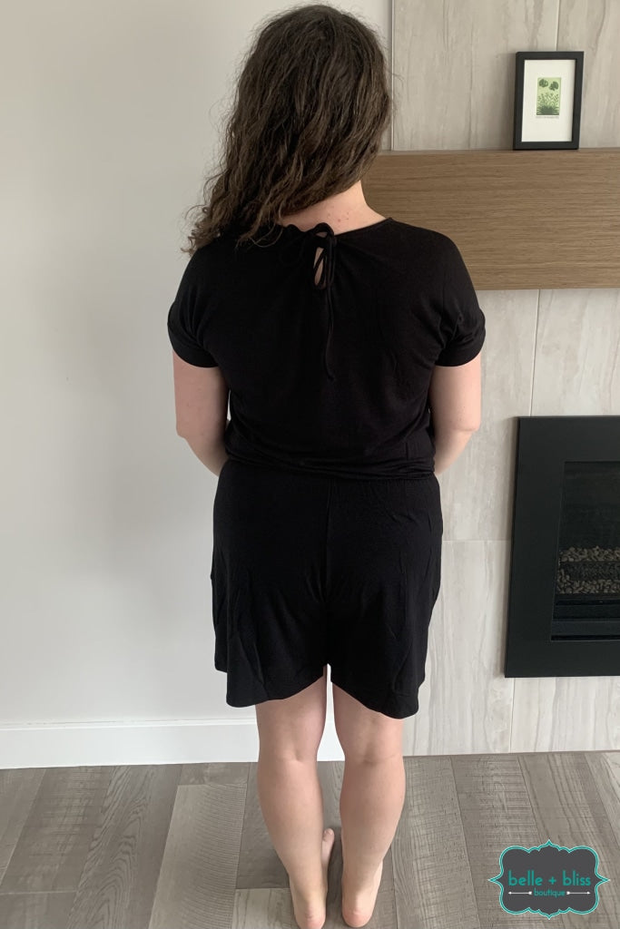 Romper With Pockets - Black Dresses & Skirts
