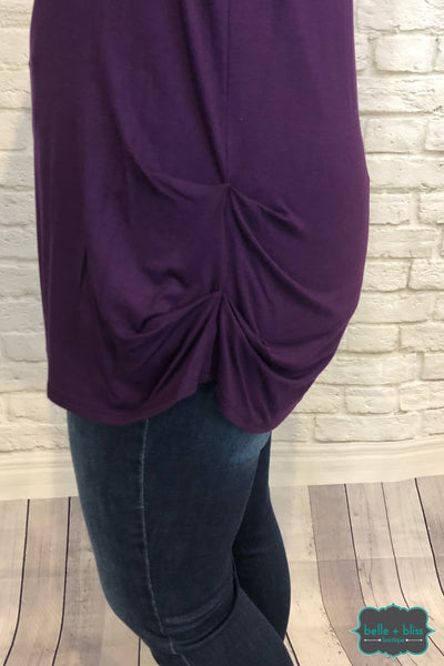 Ruched Side Tunic - Purple Tops & Sweaters