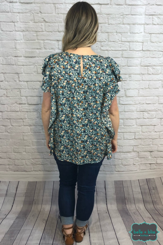 Ruffle Floral Top - Dusty Teal B+B Crew