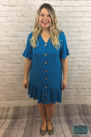 Ruffle Hem Dress With Buttons - Ocean Dresses & Skirts