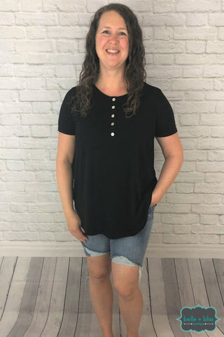Shell Button Tee - Black Tops & Sweaters