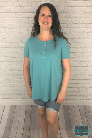 Shell Button Tee - Dusty Mint Tops & Sweaters