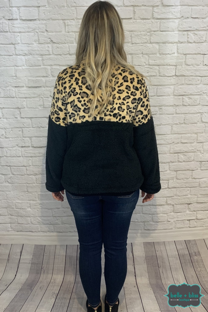 Sherpa Half Zip Pullover With Kangaroo Pocket - Leopard Tops & Sweaters
