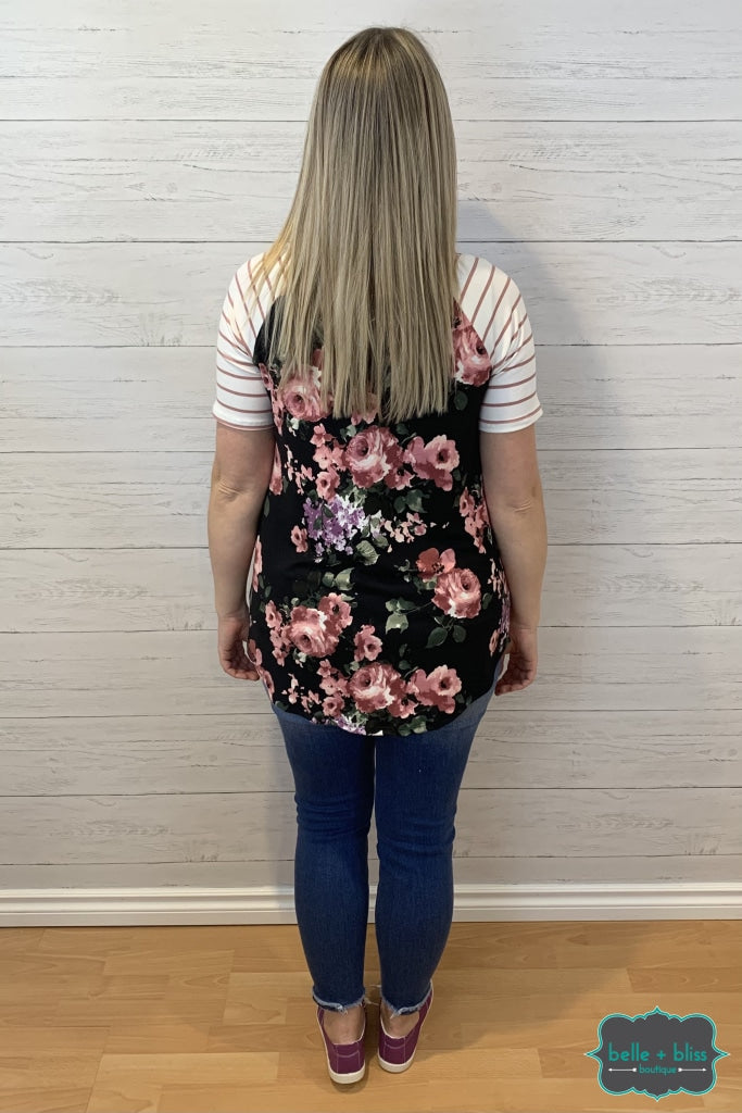 Short Sleeve Floral And Stripes Raglan - Black Tops & Sweaters