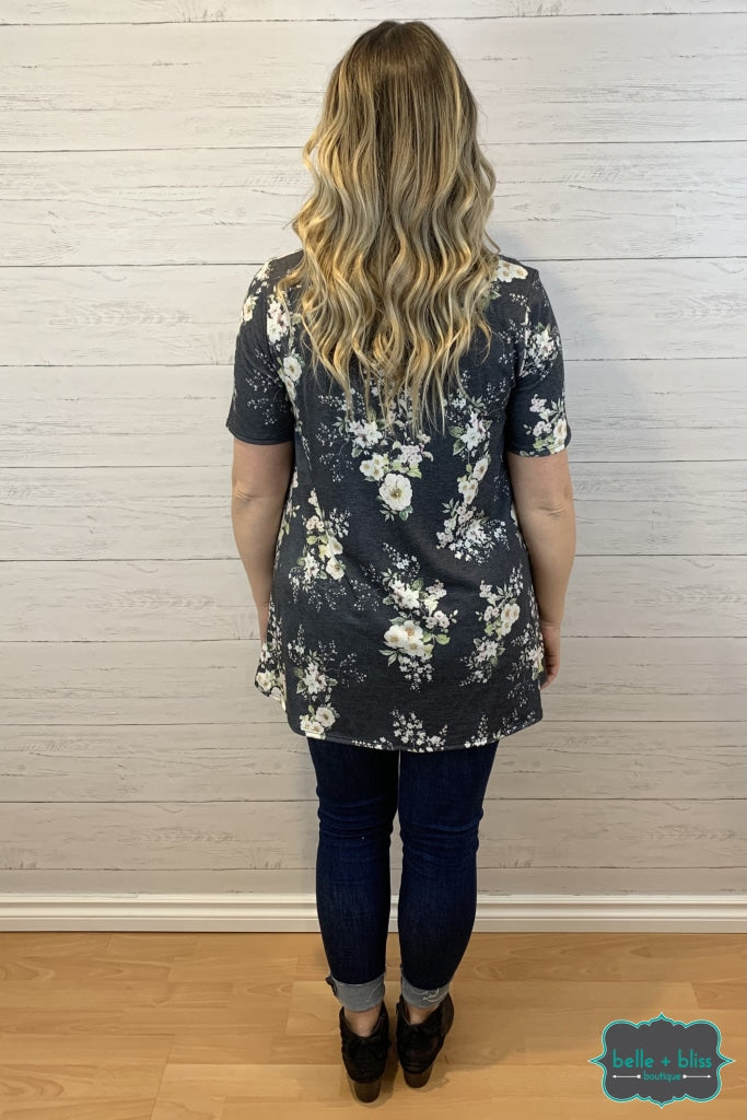 Short Sleeve Floral Tunic With Front Stitching Detail - Charcoal Tops & Sweaters