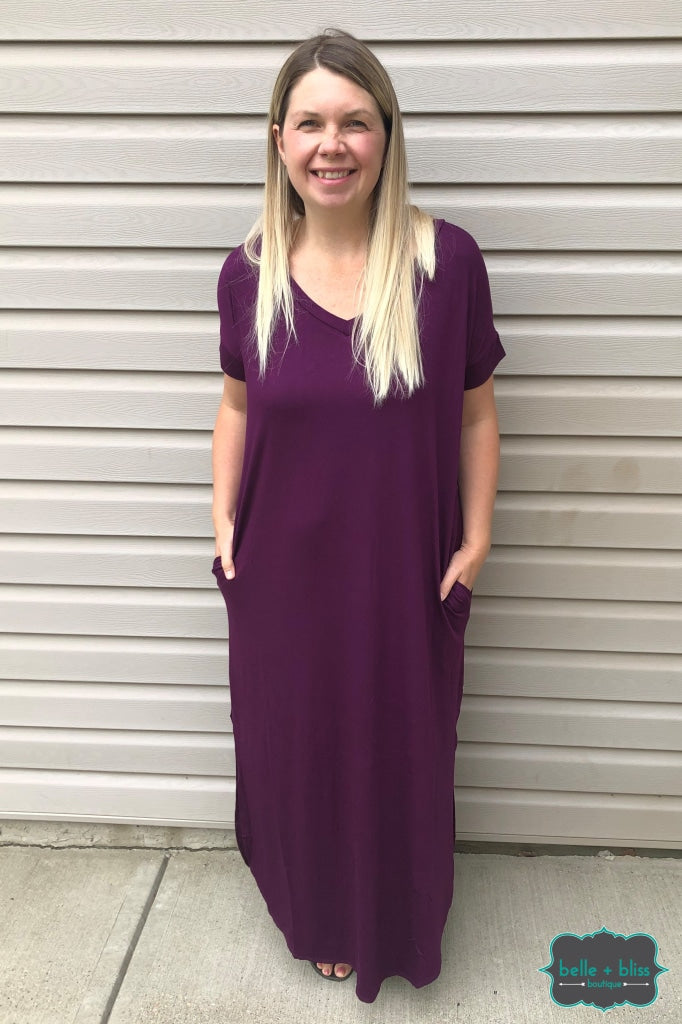 Short Sleeve Maxi Dress With Pockets - Dark Plum Dresses & Skirts