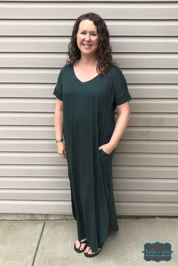 Short Sleeve Maxi Dress With Pockets - Hunter Green Dresses & Skirts