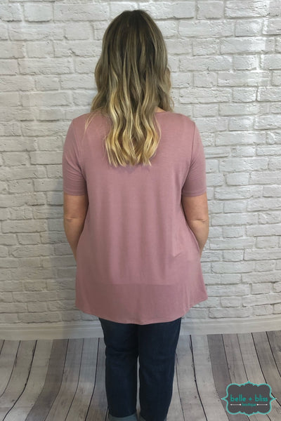 Short Sleeve Pleated Tunic With Pockets - Light Rose B+B Crew