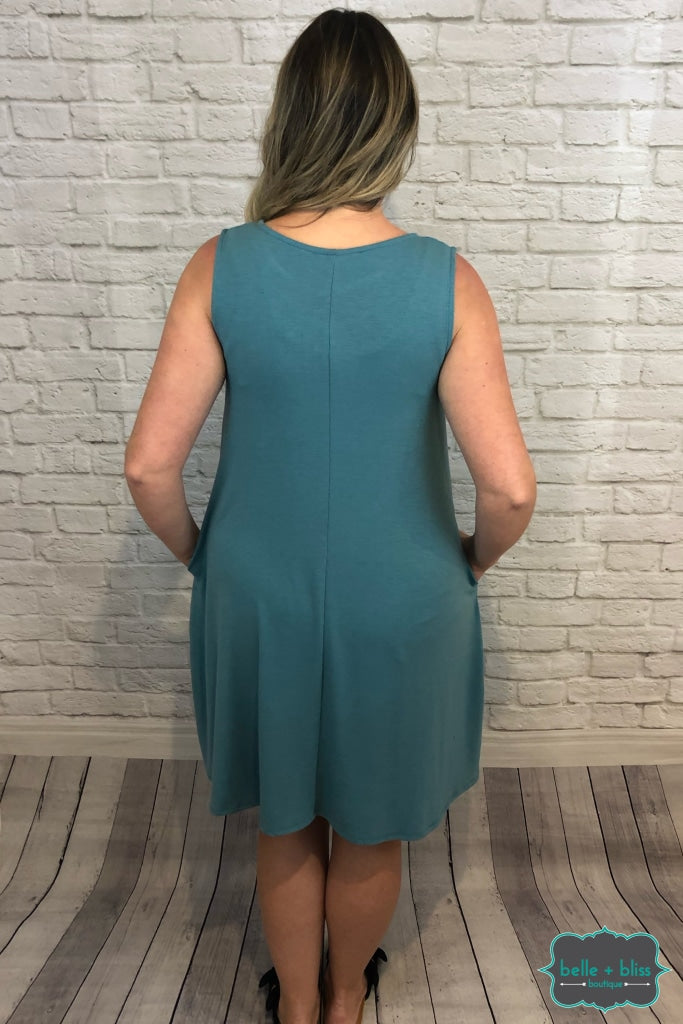 Sleeveless Dress With Pockets - Dusty Teal B+B Crew