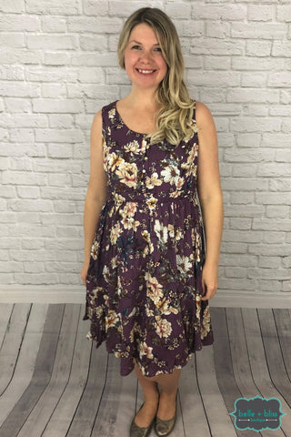 Sleeveless Floral Midi Dress - Purple Dresses & Skirts
