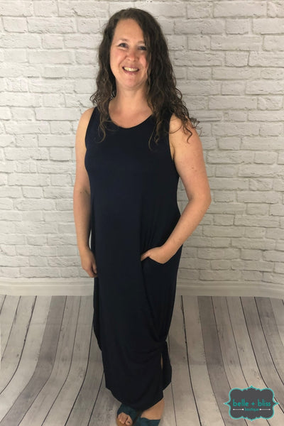 Sleeveless Maxi Dress With Pockets - Navy Dresses & Skirts