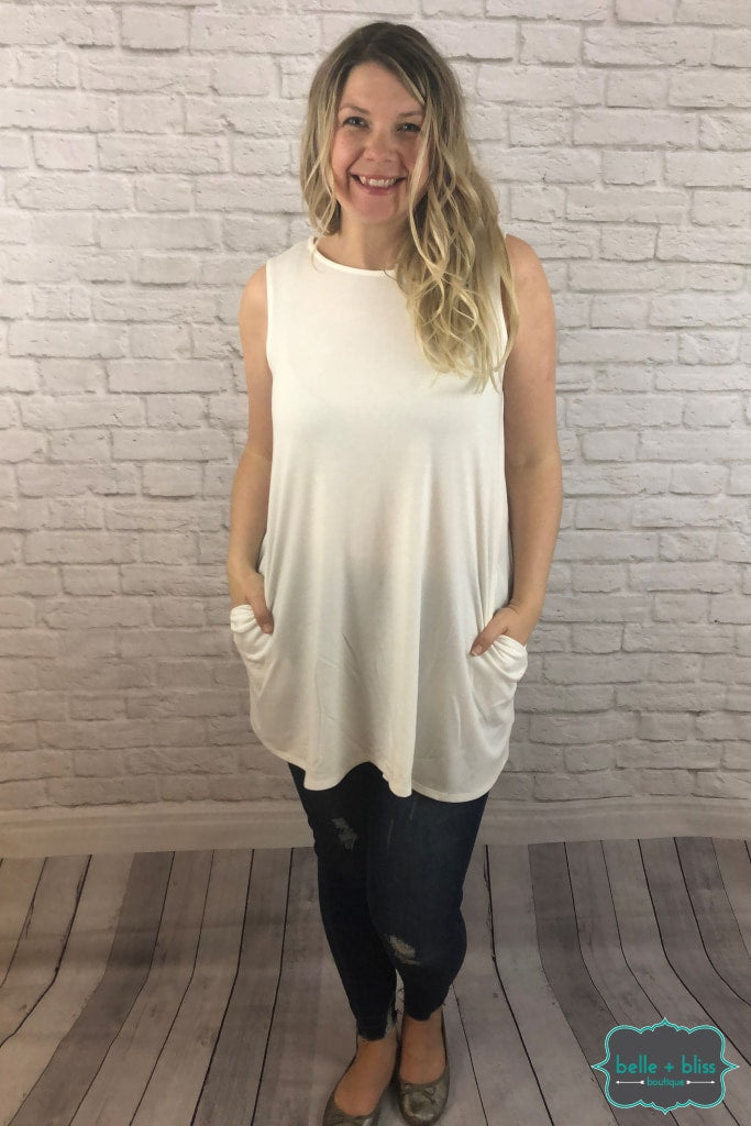 Sleeveless Tunic With Pockets - Ivory Tops & Sweaters