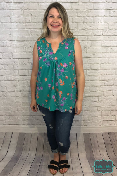 Sleeveless V Notch Floral Top - Teal B+B Crew