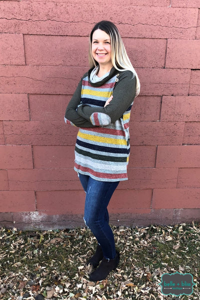 Stripe Tunic With Buttons And Elbow Patches Tops & Sweaters