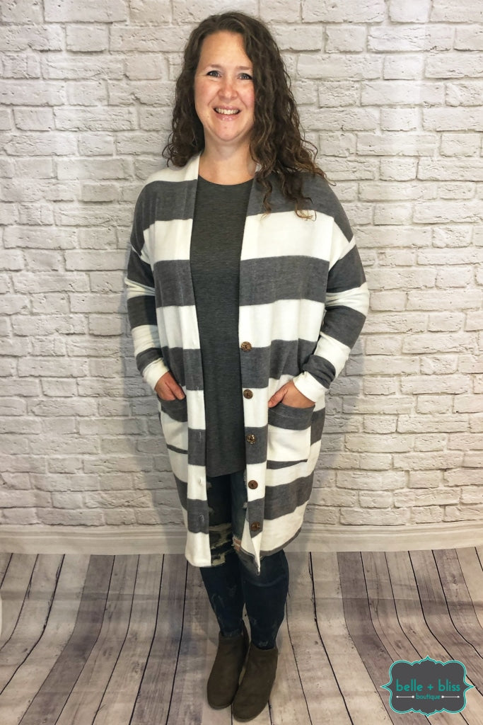 Striped Cardigan With Buttons - Grey/ivory Tops & Sweaters