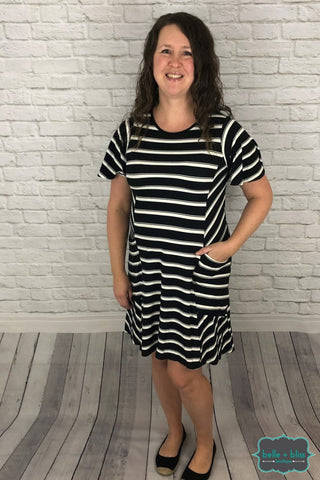 Striped Dress With Pockets - Black And White Dresses & Skirts