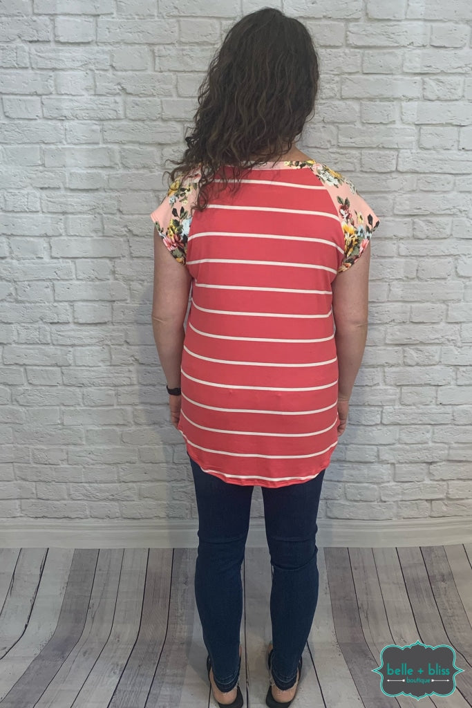 Striped Floral Raglan - Watermelon B+B Crew