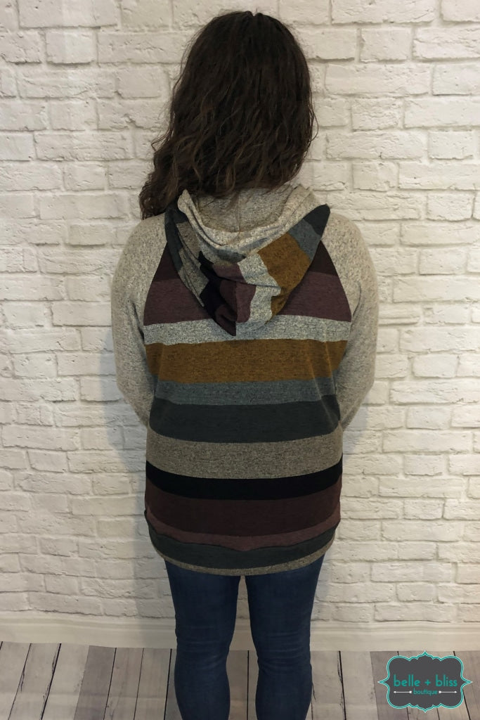 Striped Hoodie With Buttons - Mustard/eggplant Tops & Sweaters
