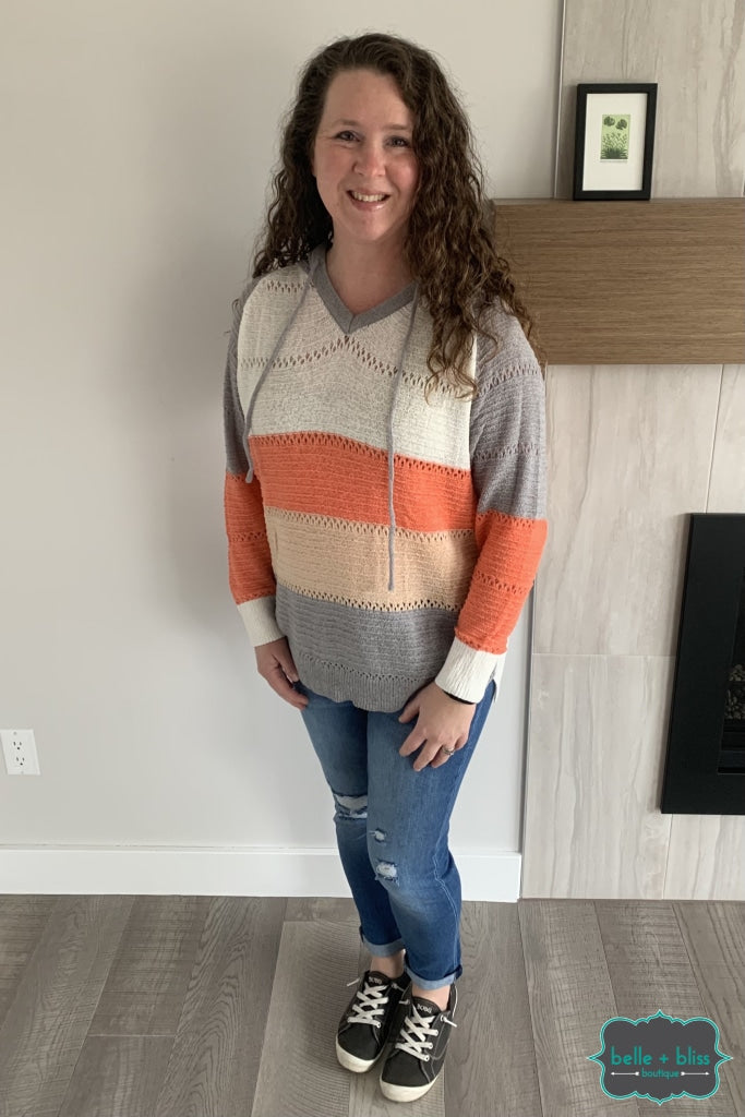 Striped Knit Hoodie - Coral And Grey Tops & Sweaters