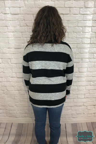 Striped Knit Sweater - Black/grey B+B Crew