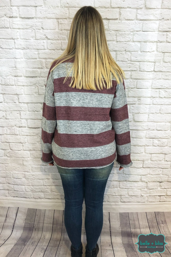 Striped Knit Sweater - Mauve/grey B+B Crew