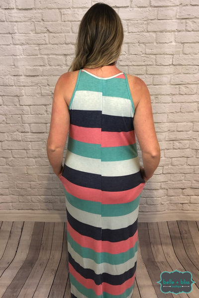 Striped Maxi Dress With Pockets B+B Crew