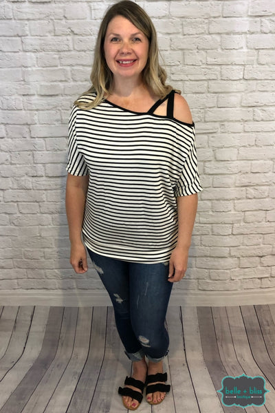 Striped Off The Shoulder Top - Black And White B+B Crew