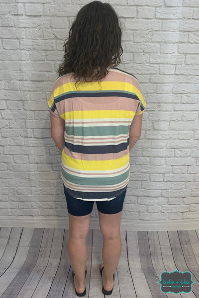 Striped Short Sleeve Tee - Yellow And Pink B+B Crew