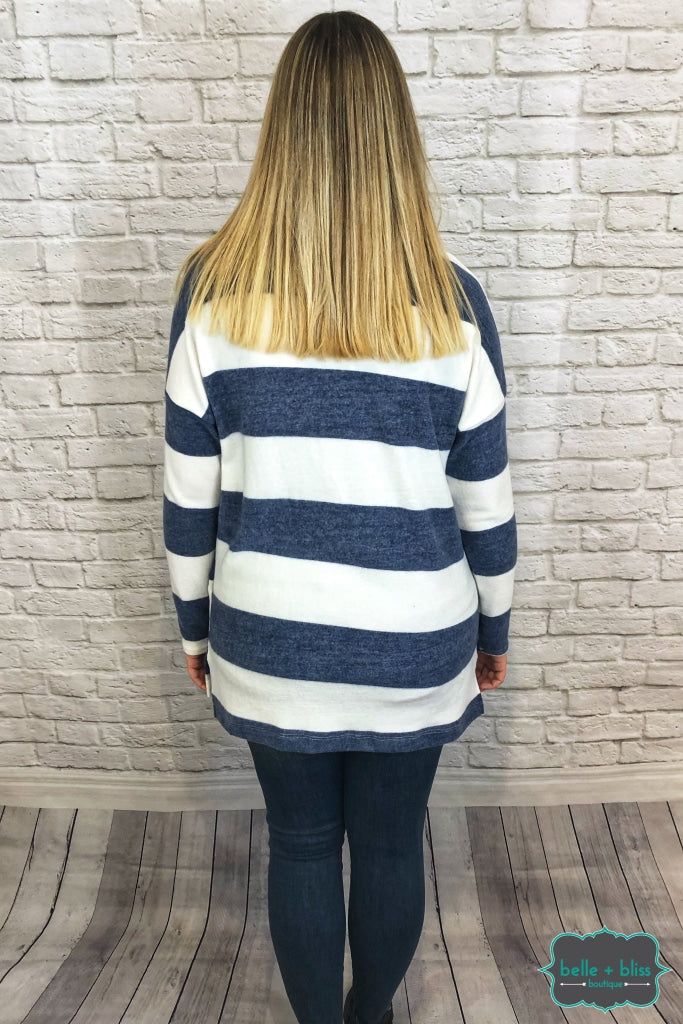 Striped Top With Pocket - Navy/mustrad B+B Crew
