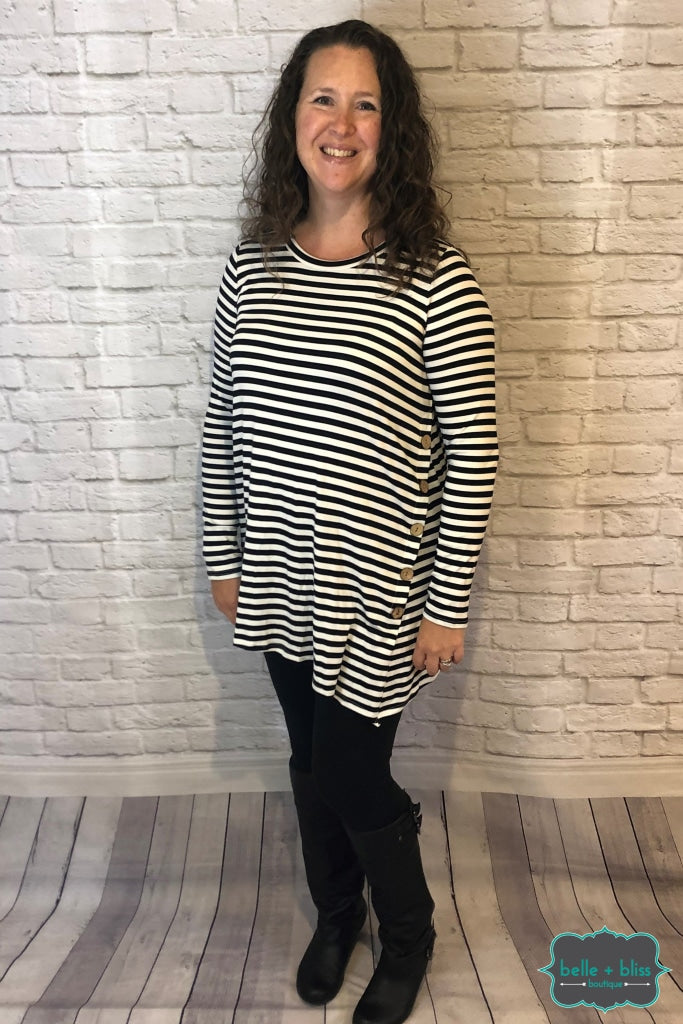 Striped Tunic With Buttons - Black & White Tops Sweaters