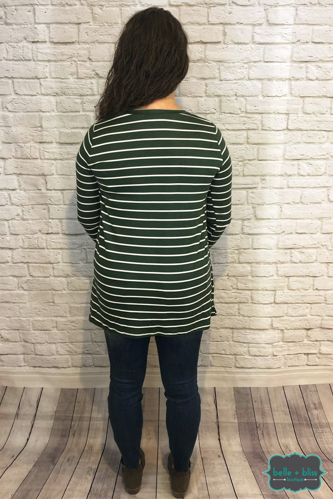 Striped Tunic With Buttons - Olive Tops & Sweaters