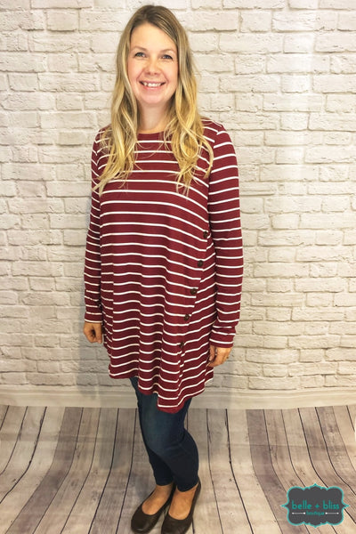 Striped Tunic With Buttons - Wine Tops & Sweaters
